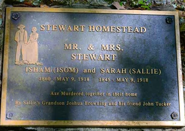 Stewart Homestead Murders Plaque Outside Of Cabin